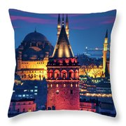 Galata Tower And Suleymaniye Mosque Throw Pillow