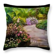 Path To The Garden Bench At Evergreen Arboretum Throw Pillow by J Reynolds Dail