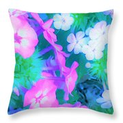 Garden Flowers In Pink, Green And Blue Throw Pillow