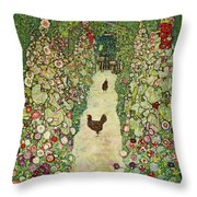 Garden With Chickens, 1916 Throw Pillow