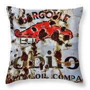Gargoyle Mobiloil Vacuum Oil Co Rusty Sign Throw Pillow