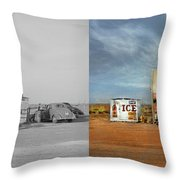 Gas Station - In The Middle Of Nowhere 1940 - Side By Side Throw Pillow