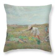 Gathering Flowers, Shinnecock, Long Island, 1897 Throw Pillow