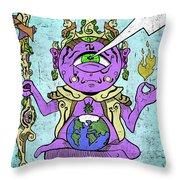 Gautama Buddha Colour Illustration Throw Pillow