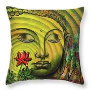 Gautama Buddha Ripple Effect Portrait Throw Pillow