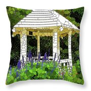 Gazebo In A Beautiful Public Garden Park 3 Throw Pillow