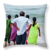 Gazing Towards The Rough Sea  Throw Pillow