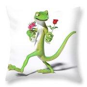 Gecko In Love Throw Pillow