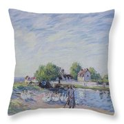 Geese At Saint-mammes Throw Pillow