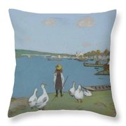 Geese By The River Loing 02 Throw Pillow