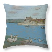 Geese By The River Loing 03 Throw Pillow
