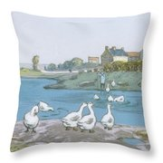 Geese By The River Loing 04 Throw Pillow
