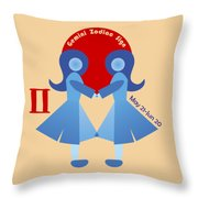 Gemini - Twins Throw Pillow by Ariadna De Raadt