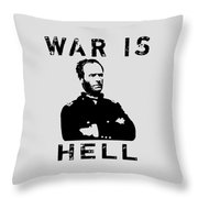General Sherman Graphic - War Is Hell Throw Pillow