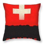 Geneva Switzerland World City Flag Skyline Throw Pillow
