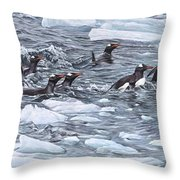 Gentoo Penguins By Alan M Hunt Throw Pillow