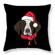German Shorthair Xmas Hat Dog Lover Christmas Throw Pillow