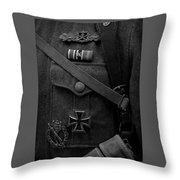 German Soldier Ww2 Black And White Throw Pillow