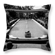 Getty Villa Massive Pool Black White Landscape  Throw Pillow