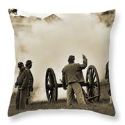 Gettysburg Battlefield - Confederate Artillerymen Firing Cannon Throw Pillow