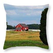 Red Barn On Sherfy Farm Gettysburg Throw Pillow