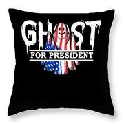 Ghost Elected Cute Halloween Spirit In American Flag Dark Throw Pillow