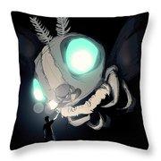 Giant Moth Vs Lamp Throw Pillow