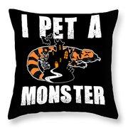 Gila Monster Halloween Venomous Lizard Pet Owner Dark Throw Pillow