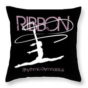 Girl Competing In Female Rhythmic Gymnastics Jumping With A Ribbon Throw Pillow
