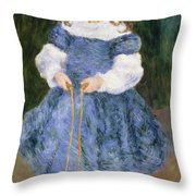 Girl With Jumping Rope, 1876 Throw Pillow