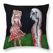 Girls In A Park Throw Pillow