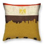 Giza Egypt World City Flag Skyline Throw Pillow