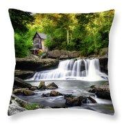 Glade Creek Grist Mill Waterfall Throw Pillow