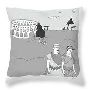Gladiators And Lions Throw Pillow