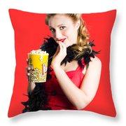 Glamorous Woman Holding Popcorn Throw Pillow