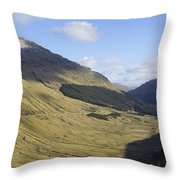 glen in highlands known as  the Rest and be Thankful Throw Pillow
