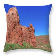 Glowing Red Rocks In The Teide National Park Throw Pillow