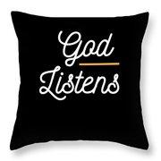 God Listens Bible Verse Christian Prayer Pray Throw Pillow