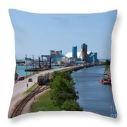 Goderich Harbour And Maitland Valley Marina Throw Pillow