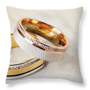 Gold Wedding Ring  Throw Pillow