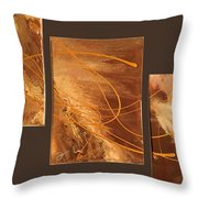 Wings Of Gold Brown Bckgrnd Throw Pillow