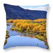 Golden Autumn Trees San Juan River Landscape Throw Pillow