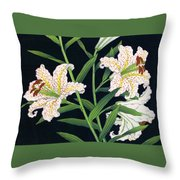 Golden-banded Lily - Digital Remastered Edition Throw Pillow
