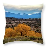 Golden Cottonwoods Throw Pillow