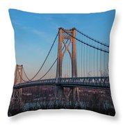 Golden Hour At Mid-hudson Bridge Throw Pillow
