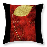 Golden Leaf On Bright Red Paper Throw Pillow