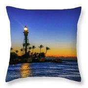 Golden Lighthouse Reflection Throw Pillow by Tom Claud