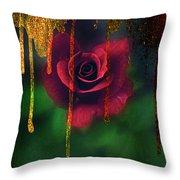 Golden Moments Of A Garden Rose Throw Pillow