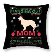 Golden Retriever Ugly Christmas Sweater Xmas Gift Throw Pillow