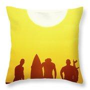 Golden Surf Silhouettes Throw Pillow